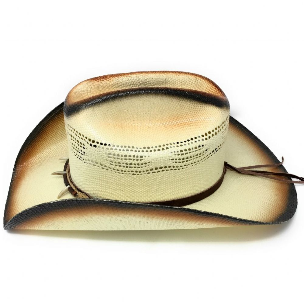 Straw Cowboy Hat - Tan with Brown Beads - Concho - Line Dancing Hat.  Country Western 2146c6b91c8